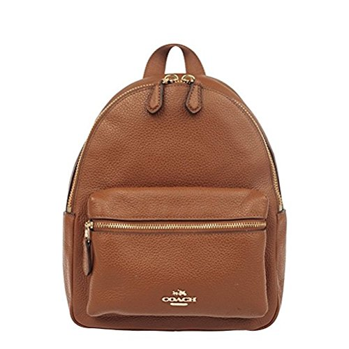 Coach Mini Charlie Backpack in Pebble Leather Saddle - Coach Outlet Usa