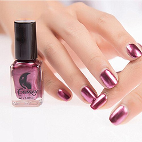 Mirror Silver Nail Polish, TONSEE Mirror Nail Polish Plating Silver Paste Metal Color Stainless Steel (Purple)