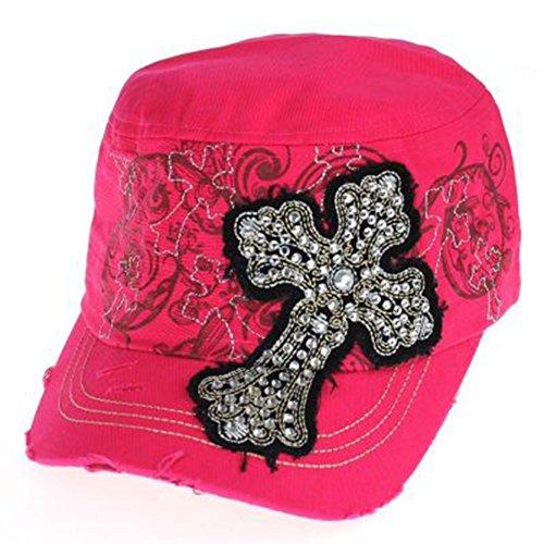Fancy Rockstar Rhinestone Cross Cap Hat (Hot Pink)