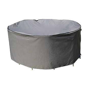 SORARA Housse de Protection Table Ronde | Ø 260 x 90 cm (L/L x H) | Gris |  Résistant à l\'eau Polyester & Revêtement PU | pour Jardin, Terrasse, ...