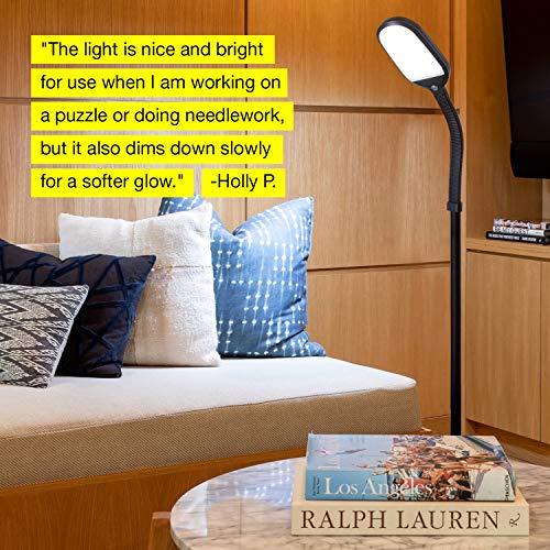 Brightech Litespan Reading Lamp - Standing Pole Adjustable Great Bedrooms - Black