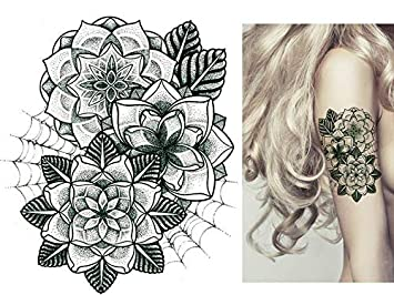 Flores tatuaje Negro Fake Tattoo km028 una vez Tattoo resistente ...