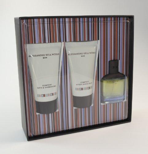 Alessandro Dell'acqua By Alessandro Dell'acqua for Men 3 Piece Set: .80 Oz Eau De Toilette Spray + 1.7 Oz Comfort Bath & Shower Gel + 1.7 Oz Comfort After Shave Balm