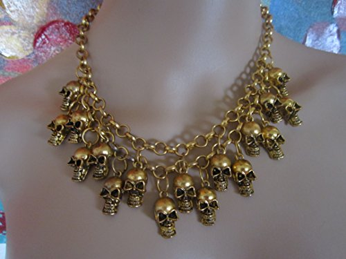 Skull Heads Statement Necklace Punk Rock Beautiful Vintage Look Super Fast Shipping From Usa!