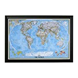 Classic World Push Pin Travel Map with Black Frame and Pins 24 x 36 Picture