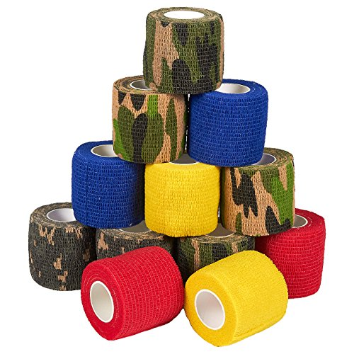 Self Adherent Wrap - 12 Pack of Camo Cohesive Bandage Medical Vet Tape for First Aid, Sports, Wrist, Ankle in 6 Varied Camouflage and Solid Colors, 2 Inches x 5 Yards (Elastic Adhesive Tape Vet)