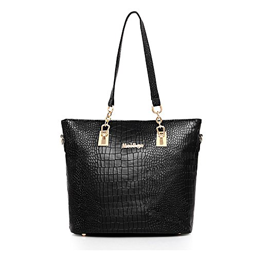 Black Bags Handbag amp;X Stone Purse Shoulder 6 H Womens Tote Top Pcs Handle Set Ow8SX