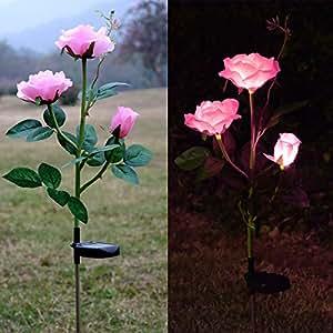 Outdoor Solar Rose LED Stake Lights, Homeleo Solar Powered Rose Flower Lights for Garden Back Yard Patio Decoration - Pink