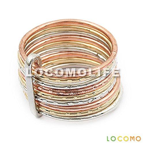 LOCOMO Metal Bronze Color Punk Gothic Rock Hip Hop Multi Layer Stack Stackable Ring JRG002