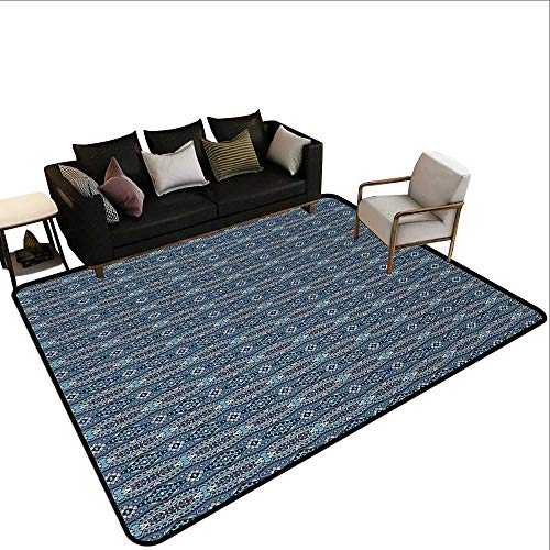 Bedroom Rugs Vintage,Ethnic Pattern with Geometric Rhombuses Swirled Lines and Diamond Shapes,Blue Grey Blue Black,for Entryway and Bedroom 5