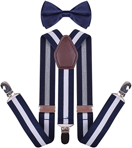 YJDS Men's Leather Suspenders and Pre Tied Bowtie Navy White Stripe 49 Inches