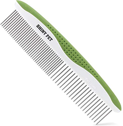 Dog Comb for Removes Tangles and Knots - Cat Comb for Removing Matted Fur - Grooming Tool with Stainless Steel Teeth and Non-Slip Grip Handle - Best Pet Hair Comb for Home Grooming Kit - Ebook Guide ()