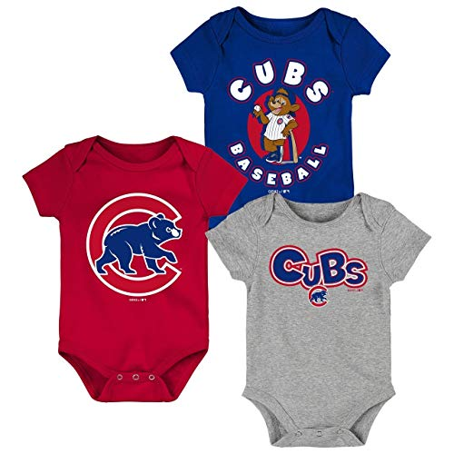 Chicago Cubs Toddler 3-Pack Baby Onesie Bodysuit Creeper Set (24 Month) ()