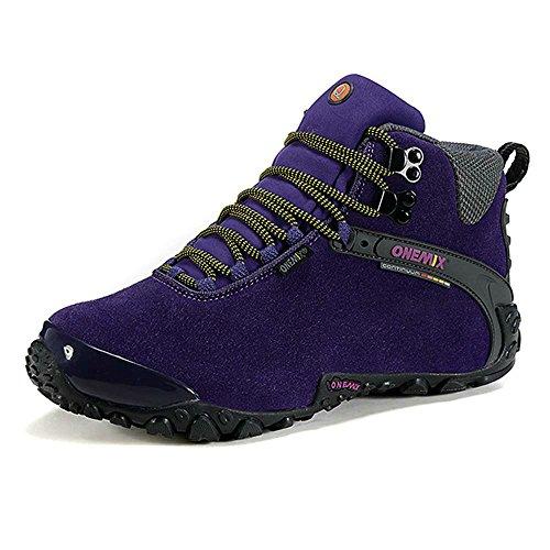 Onemix Mujeres tobillo-alto cálido calzado deportivo cómodo Impermeable botas de nieve de invierno Trekking Trail Senderismo botas Negro morado