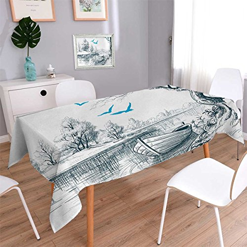 Landscape Oblong Customized Tablecloth Boat on Calm River Trees Birds Twigs Sketch Drawing Clipart Water Minimalist Stain Resistant Wrinkle Tablecloth White Gray Blue Size: W60