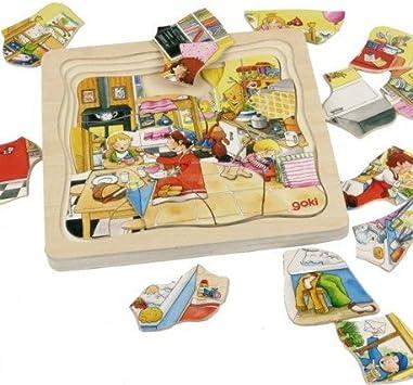 Goki Juego de mesa PUZZLE MULTICAPA DE MADERA 46 piezas Modelo MI ...