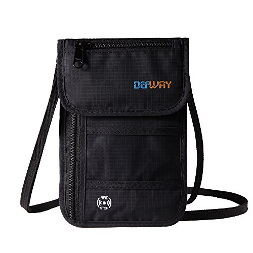 DEW Passport Holder Stash Hidden Neck Pouch RFID Blocking Travel Wallet (Black) (Black Seat Covers For Cars Nylon compare prices)