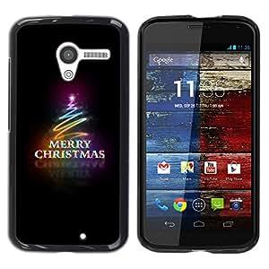 Motorola Moto X 1 1st GEN I , JackGot - Impreso colorido protector duro espalda Funda piel de Shell (Black Christmas Neon Lumières Arbre)