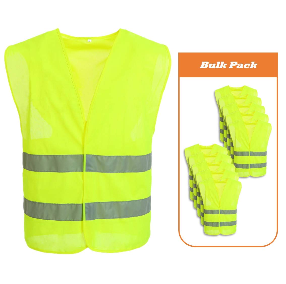 JKSafety 9 Pockets Class 2 High Visibility Zipper Front Safety Vest With Reflective Strips, Yellow Meets ANSI/ISEA Standards (X-Large) 51112XL