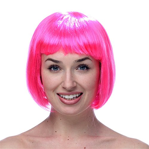 Toponechoice Women's Halloween Party Short Straight Bobo Costume Cosplay Wigs (Pink) (Cheap Coloured Wigs)