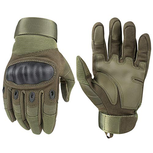 HIKEMAN Tactical Army Military Rubber Hard Knuckle Outdoor Full Finger Gloves for Men Fit for Cycling Motorcycle Hiking Camping Powersports Airsoft Paintball (Army green, Large) ... ()
