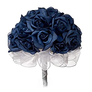 Navy Blue Silk Rose Hand Tie (24 Roses) - Silk Bridal Wedding Bouquet 51