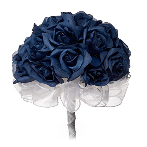 Navy Blue Silk Rose Hand Tie (24 Roses) - Silk Bridal Wedding Bouquet