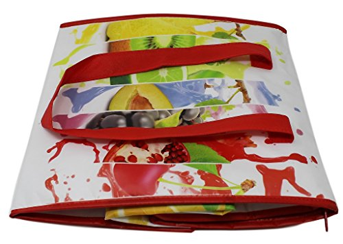 Earthwise Insulated Reusable Grocery Bag Shopping Tote with Zipper Top Lid Fruit Splash Print Thermal for Frozen or Hot Food Carrier Collapsible (Pack of 2) by Earthwise (Image #5)