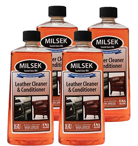 Milsek Vinyl - Leather Cleaner and Conditioner, 12-Ounce, Pack of 4, LC-4