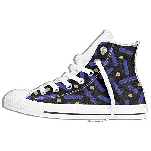 Zapatillas De Deporte Clásicas De La Parte Superior Zapatillas De Lona Antideslizante Líneas Azules Frescas Caminando Informal Para Hombres Mujeres Blanco