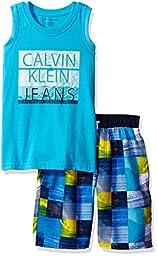 Calvin Klein Little Boys\' 2 Pieces Tank Top Short Set, Aqua, 5