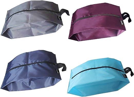2 Packs Dust-proof /& Waterproof Nylon Travel Shoe Bags with Zipper Closure Black
