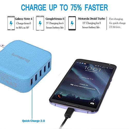 Lumsing Quick Charge 2.0 Multi-Port USB Wall Charger,5 Port Wall Charging Hub for SmartPhones-Blue