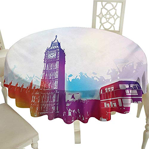 Cranekey Gingham Round Tablecloth 54 Inch London,Historical Big Ben and Bus Great Bell Clock Tower UK Europe Street Landmark,Purple Red Yellow Great for,Wedding & More