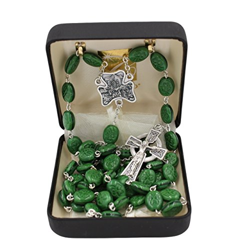 Bundle: Irish Shamrock Green Bead Rosary with Our Lady of Knock Center and Organza (Irish Rosary Beads)
