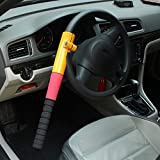 Steering Wheel Lock, Transer Universal Heavy Duty Anti Theft Car Van Truck Security Crook Steering Wheel Lock (Yellow)