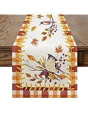 Artoid Mode Buffalo Plaid Birds Maple Leaves Orange White Tablecloth Washable Table Linen, Fall Autumn Harvest Farmhouse Rustic Vintage Table Cover for Party Family Dinner