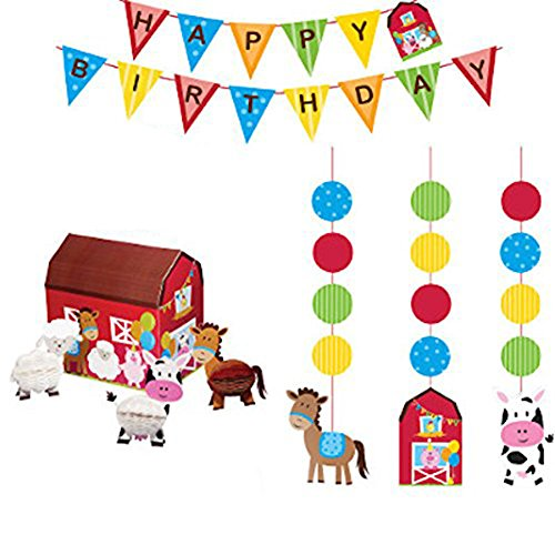Farm Animals Party Supplies (Farmhouse Fun Party Supplies Decorations Supply Pack - Hanging Cutouts, Banner, and Centerpiece)