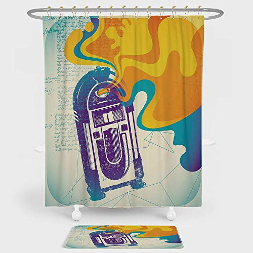 iPrint Jukebox Shower Curtain And Floor Mat Combination Set Retro Vintage Radio Music Box with Marigold Yellow Abstract Fog Like Image For decoration and daily use Purple and (Geneve Music Box)