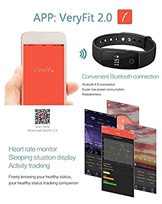 Sports Bracelet,PALADY ID107 Bluetooth 4.0 Smart Bracelet Smartband Heart Rate Monitor Wristband Fitness Tracker For Android iOS Smartphone