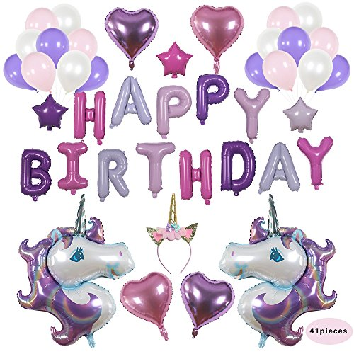 Pizza Time Invites (Beautiful 41 piece Unicorn Party Supplies Set, Birthday Party Supplies, Happy Birthday Balloons, Party Decorations, 1st Birthday - By All Hustle & Heart)