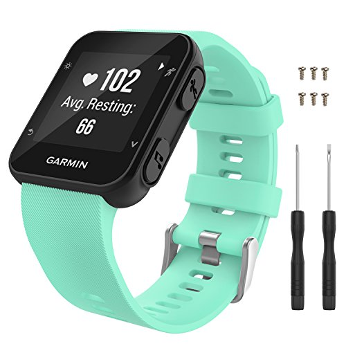 Garmin Forerunner 35 Watch Band, MoKo Soft Silicone Replacement Watch Band Sport Bracelet Strap with 6pcs Screws and 2pcs Screwdrivers for Garmin Forerunner 35 GPS Running Smart Watch, Mint Green