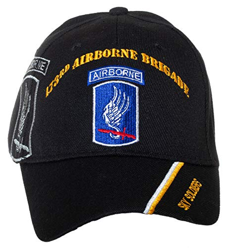 Officially Licensed US Army 173rd Airborne Brigade Sky Soldiers Embroidered Black Adjustable Baseball Cap