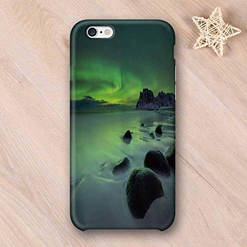 - Northern Lights Custom Compatible with iPhone Case,Magic Nature Panorama Coastline Oval Energy Sky Mist Picture Compatible with iPhone 6/6s,iPhone 6/6s