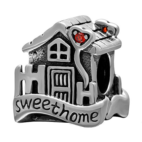 Sweet Home Charms with Red Cz Stone Solid Sterling Silver House Bead Love Family Charms for Euroepan Bracelet (Charm Sterling House Silver)