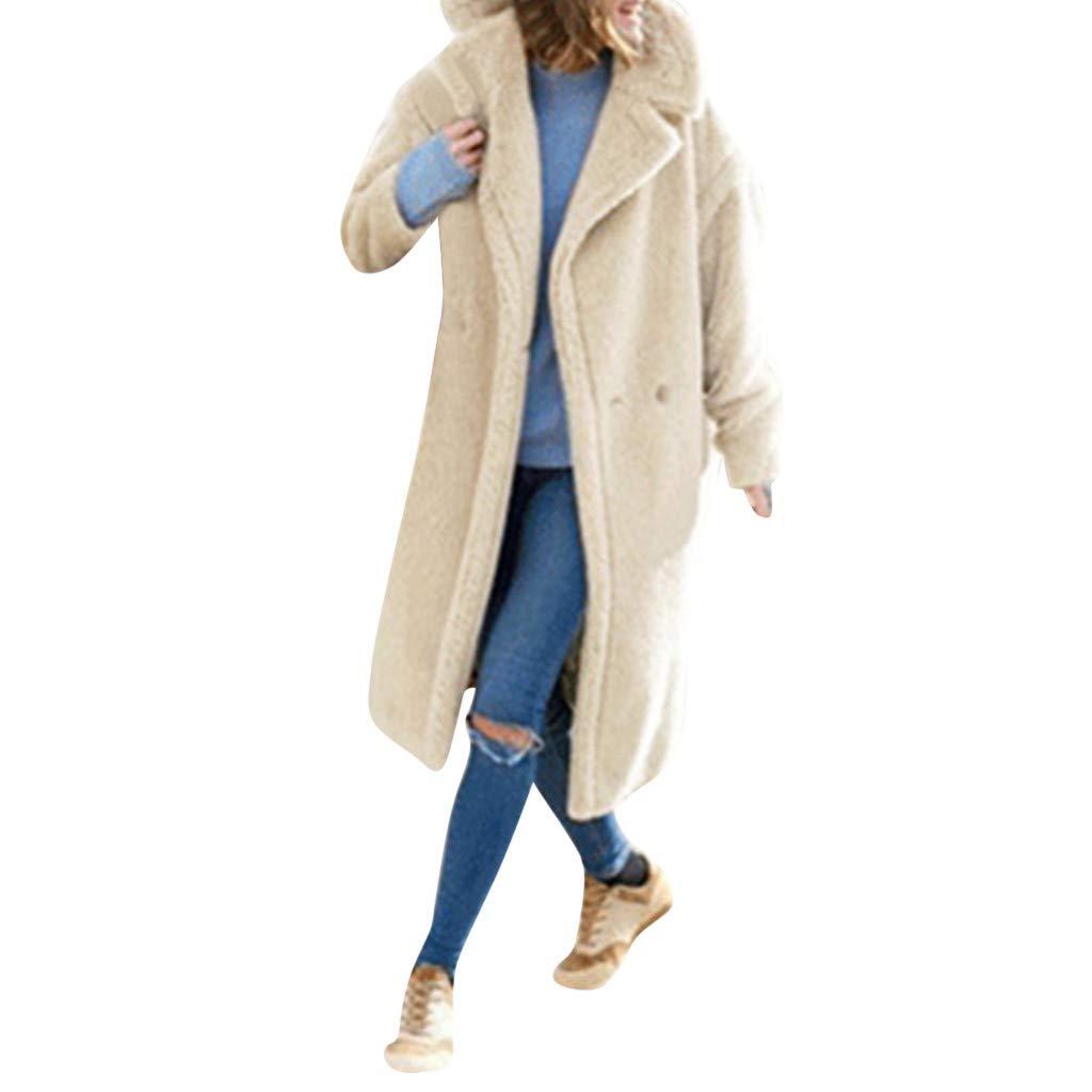 Yvelands Mujer Chaqueta de Invierno Sólido Solapa de Manga Larga de Bolsillo de Felpa Largo Outwear Escudo Tops Blusa: Amazon.es: Ropa y accesorios