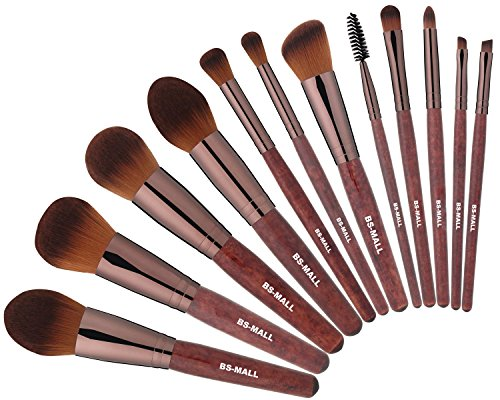 BS-MALL Synthetic Foundation Powder Concealers Eye Shadows Brushes Makeup Brush Set (Red Wooden Color,12 Pcs)