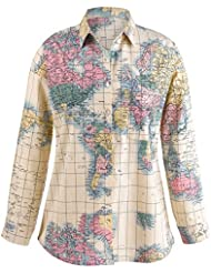 CATALOG CLASSICS Womens World Map Blouse - Classic Mens Button Front Style Ladies Fit