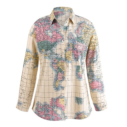 CATALOG CLASSICS Women's World Map Blouse - Classic Men's Button Front Style Ladies Fit - 1X