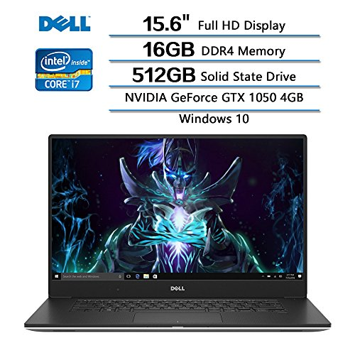 Dell XPS 15 9560 15.6 FHD laptop, Intel Core i7-7700HQ Quad Core Processor (6M cache, up to 3.8 GHz), 16GB RAM, 512GB SSD, NVIDIA GeForce GTX 1050 w| 4GB GDDR5, Wins 10 Home